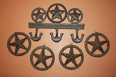 (5) Lone Star Barn Decor, Texas Farm Ranch Wall Decor, Lone Star Wall Hook Set