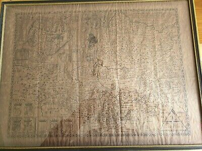 Antique John Speede Somersetshire Map On Parchment Framed 1600s