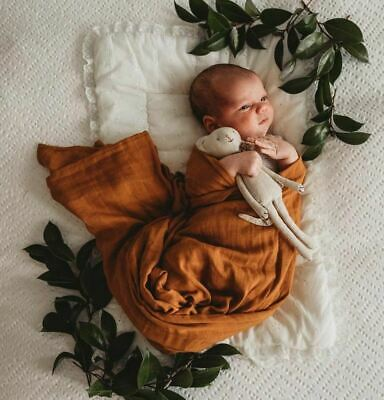 100% Organic Cotton Muslin Baby Wrap/Swaddle/Newborn Pram Blanket/Bronze/NEW