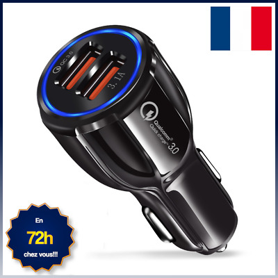 Chargeur Telephone Voiture Allume Cigare Double Port Usb Charge Rapide