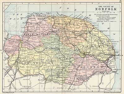 Norfolk county 1885 coloured antique map in 10 x 12 inch mount SUPERB
