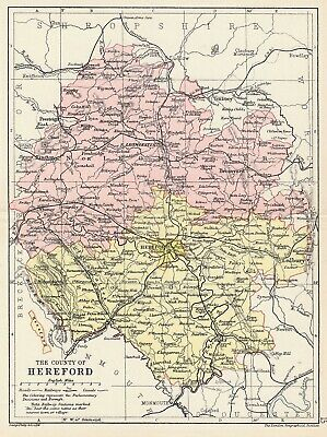 Herefordshire county 1885 coloured antique map in 10 x 12 inch mount SUPERB