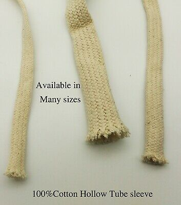 4,6,8,16mm 100%Cotton Braided Tube Hollow Rope Cover Sleeve Electric Wire Cable
