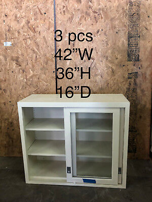 """Labcrafters Lab Glass Overhead Cabinet, Tan/White, 42""""x36""""x16"""" deep"""