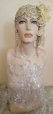 Gatsby 20's Silver Ivory Bead Lace Crystal Flapper Wedding Headpiece Bellydance