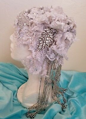 Gatsby Flapper Silver Bead Lace Crystal Flapper Wedding Headpiece Hat BellyDance