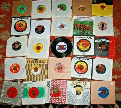 "LOT OF 25 7"" 45rpm RECORDS Clean Hits GRAB BAG JUKEBOX FREE SHIP 45s rock soul"