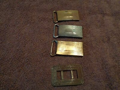 LOT OF 4 VINTAGE ANTIQUE small unusual BRASS BELT BUCKLES