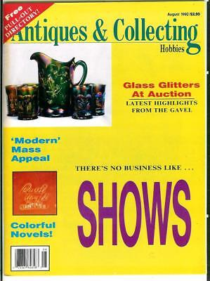 ANTIQUES & COLLECTING HOBBIES 8/1992, collector mag, Roy Rogers, pbs, bottles