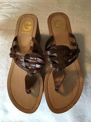 853a9548063 G By Guess Women s Brown Wedge Yanika Sandals Size 10M