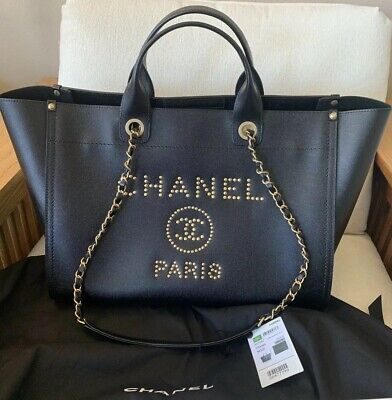 fb1a5367d8fc Authentic Chanel Black Gold Studded Large Leather Deauville Shopping Tote  Bag