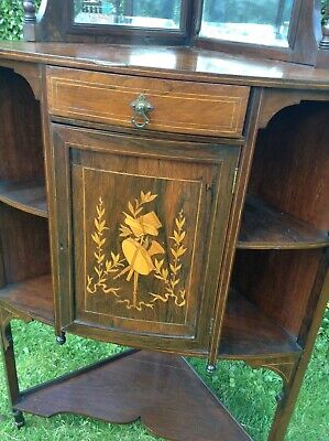 Antique Victorian rosewood and inlaid floor standing corner cupboard,cabinet