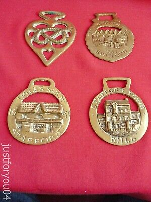 Four Vintage Solid Horse Brass High House 1555/Mill/Shop 1635 Stafford England