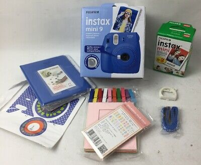Fujifilm instax mini 9 Instant Film Camera (Cobalt Blue) W/Accessories