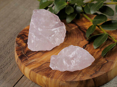Raw ROSE QUARTZ Crystals - Two Natural Rose Quartz Raw Crystals E1446