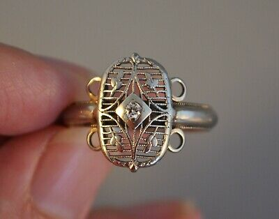 Old Vintage Antique Art Deco 14K Solid White Gold Diamond Ring Filigree Floral