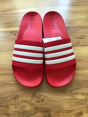 8d9d15817 NEW ADIDAS ADILETTE Slides Sandals Mens Red White Beach Flip Flops ...