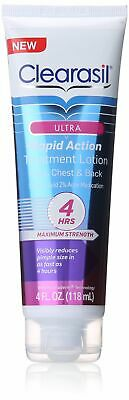 Clearasil Ultra Rapid Action Treatment Lotion Face,Chest & Back 4 oz Exp 7/19