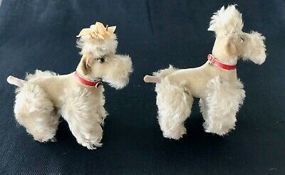 Matched Pair Vintage Steiff Jointed Toy Poodle Dogs, Snobby