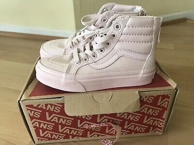 2bbbb42400 Vans Sk8 Hi Mono Canvas Peach Blush Kids 12 Skate Shoes Pink New Sneakers  Zip
