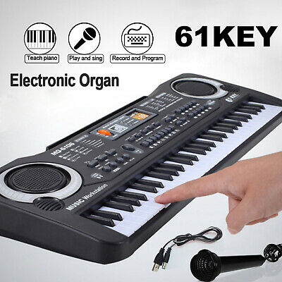 Kid's 61 Keys Electric Piano Organ Keyboard Digital Music  Mini Microphone Gift