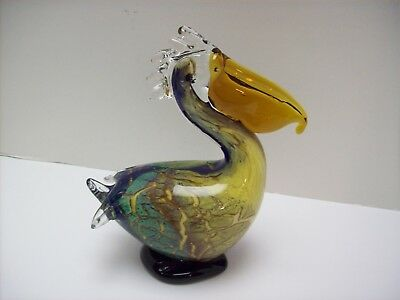 "Beautiful Colorful Art Glass 7"" Pelican Bird Figurine Paperweight"