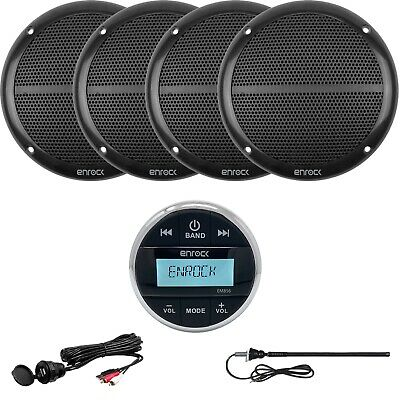 "Enrock Bluetooth Receiver, 4 x 6.5"" Speakers, Aux Interface Mount, Radio Antenna"