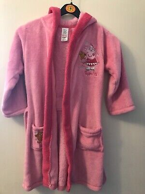 Peppa Pig Dressing Gown Pink Girls With Stiched Belt , Pocket And Hood 4-5yrs