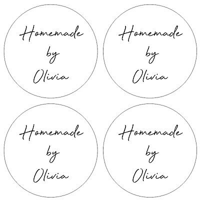 35 x Circle 30mm Homemade By Custom Personalised Handmade Sticker Labels 015