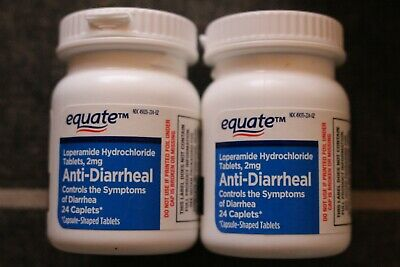 Equate Anti-Diarrheal 2mg Exp 9/20 Each sealed bottle has 24 caplets 48ct total