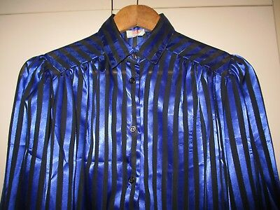 FAB 1980s VINTAGE COBALT AND BLACK BLOUSE SIZE 12 GOOD CONDITION