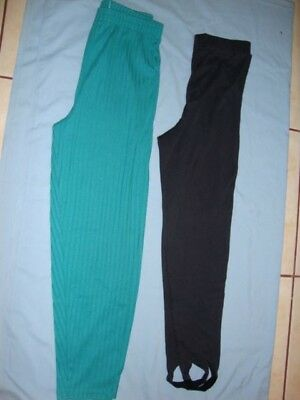 Girls Size 12 1/2 Leggings, Blueish Green and Black, Polyester and Cotton
