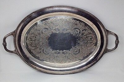 International Silver Castleton Silver Plate Oval Serving Tray Platter w/ Handles