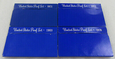 1969, 1970, 1971 & 1972 US Proof Sets * Lot of 4- in Original US Mint Boxes