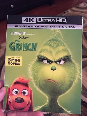 ** THE GRINCH ** 4K Blu Ray ONLY + Slip Cover / Dr. Seuss' Illumination