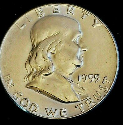 1955 P Mint 90% Silver Franklin Half-Dollar Exact Coin Shown BU GEM Free S/H