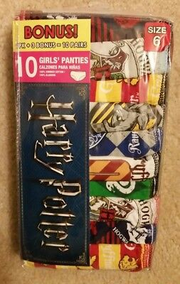 Harry Potter Girls Underwear 10 Pairs Size 6 100% Cotton NEW IN PACK
