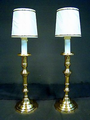 Lovely Pair Antique French Bronze Brass Candlestick Lamps Electrified Silk Shade