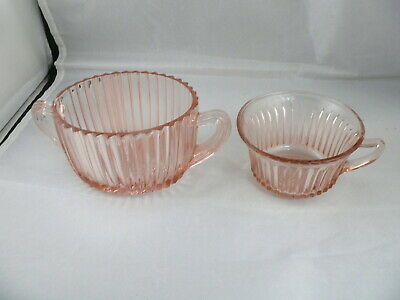 Queen Mary Pink Sugar Bowl & Cup-----Anchor Hocking Glass Co.