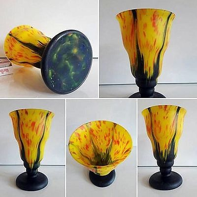Beautiful Art Deco Multicolor Czech Loetz Tango Kralik Bohemian Glass Vase