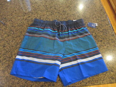 12c23fb0113dc George Men's L 36 38 Shorts striped pull on hybrid navy blue Swim Trunks  NWT New