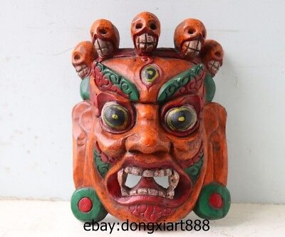 11 Tibet Wood Handwork Carved painted Buddhism Mahakala Buddha face mask Statue