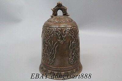 China Temple Bronze Kwan-yin Dragon Lection Bell Clock Handleless Cup Handing