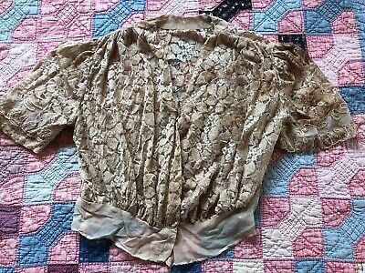 Antique 1930s Blonde Lace Blouse Silk Floral Chiffon Top Leaves Bodice Vintage