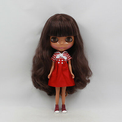 Takara 12'' Nude Blythe Doll Blythe From Factory Brown Hair With Bangs Tan Skin