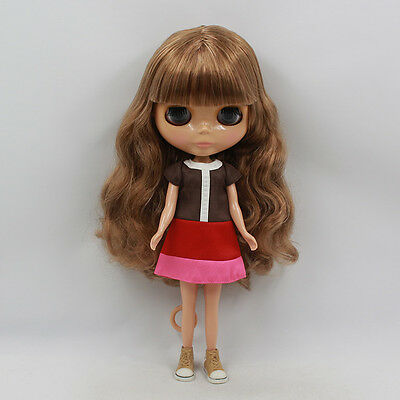 Takara 12'' Nude Blythe Doll From Factory Brown Hair With Bangs Tan Skin
