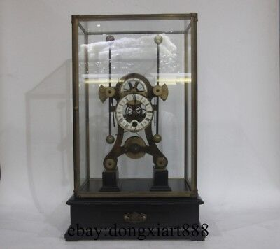 European Retro Bronze Glass Seafaring Mechanical Grasshopper Swing Table Clock