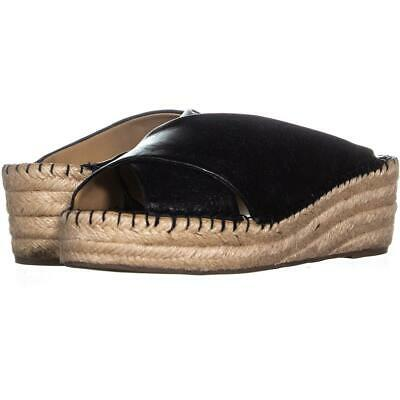61b0712d8ae FRANCO SARTO POLINA Espadrille Wedge Sandals Slide Black Leather 6M ...