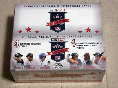 New 2008 Tristar Projections Baseball Hobby Box Pro Debut, 4 AUTOS, 8  HITS!
