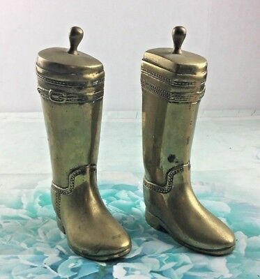 Pair Of Heavy Brass Cowboy Boots Bookends Western Set Solid